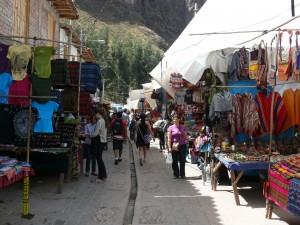 Market Stalls in Narrow Street, Pisac, Peru