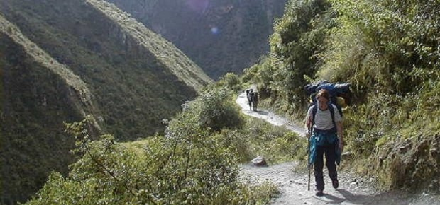 Lone hiker on the Inca Trail to Machu Picchu in Peru