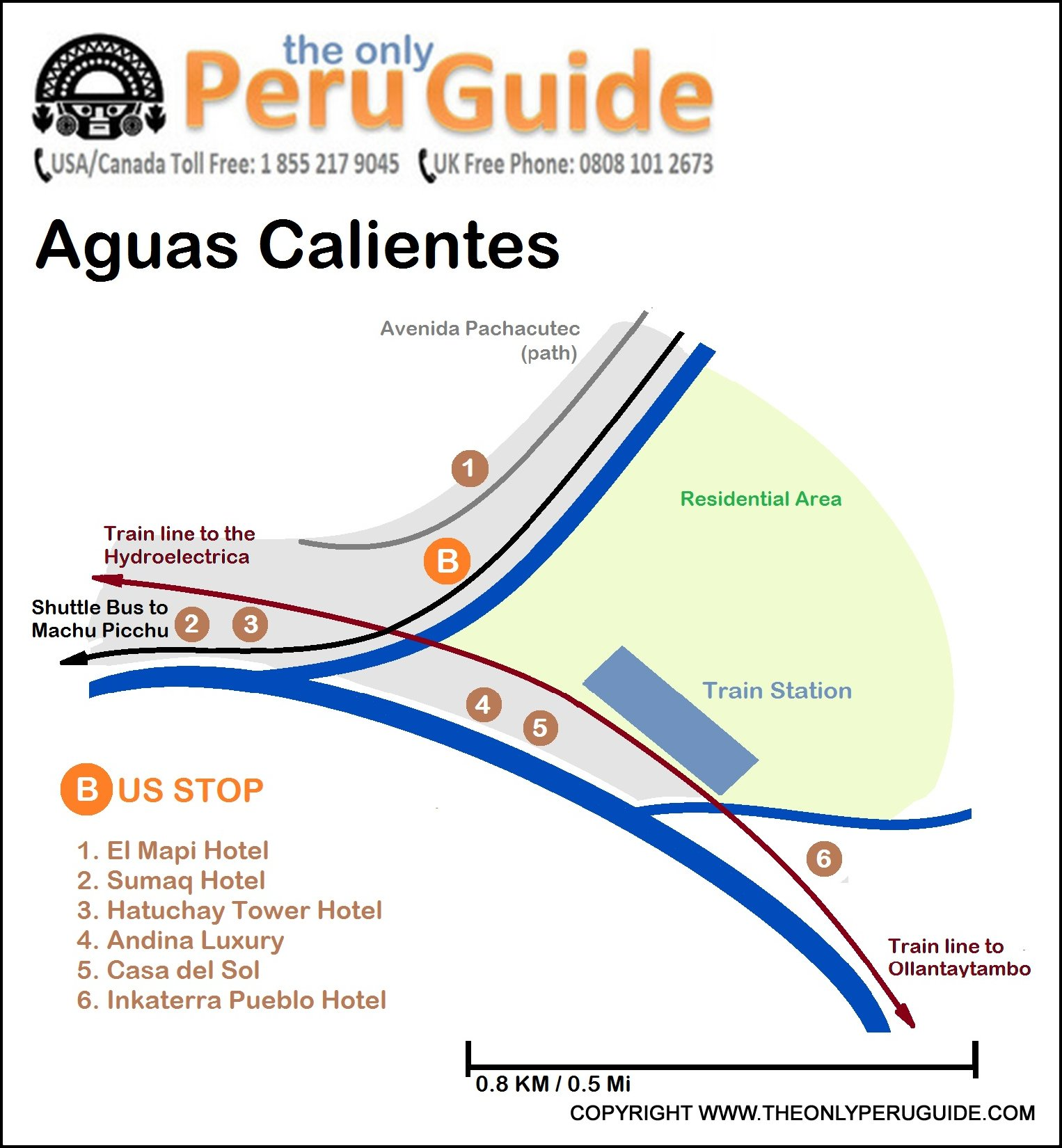 Map: Location of bus stop in Aguas Calientes