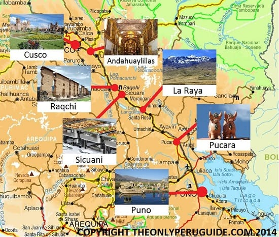Map of tourist bus from Cusco to Puno