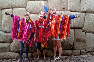 Tourists Dressed up in Colourful Ponchos