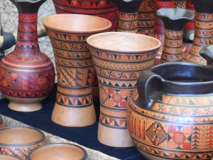 Decorative cups at Pisac Market, The Sacred Valley, Peru