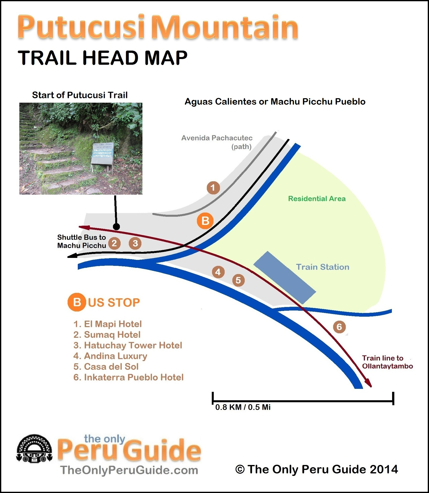 Detailed Map of Putucusi Mountain Trail Head