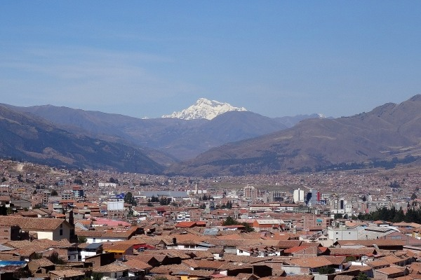 Ausangate Mountain as seen from San Cristobal church in Cusco, Peru