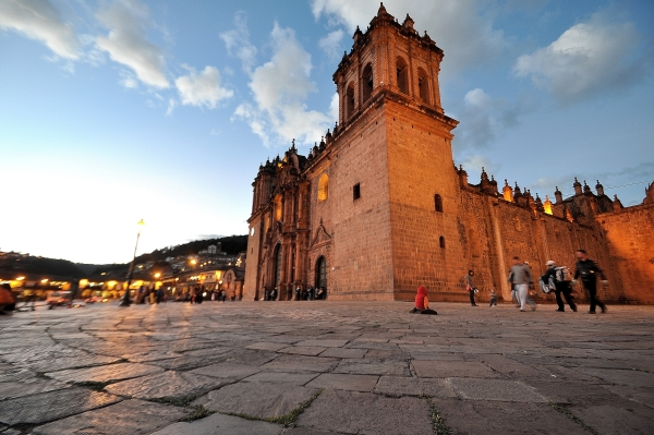 Nightfall over Cusco Cathedral, Peru