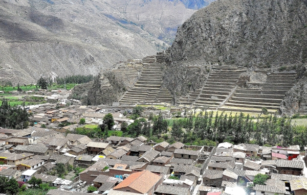 Panoramic view of the Inca terraces fortress and temple at Ollantaytambo in the Sacred Valley, Peru
