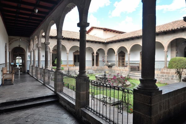 Patio, cloisters and fountain in the Museum ofReligious Art in Cusco, Peru