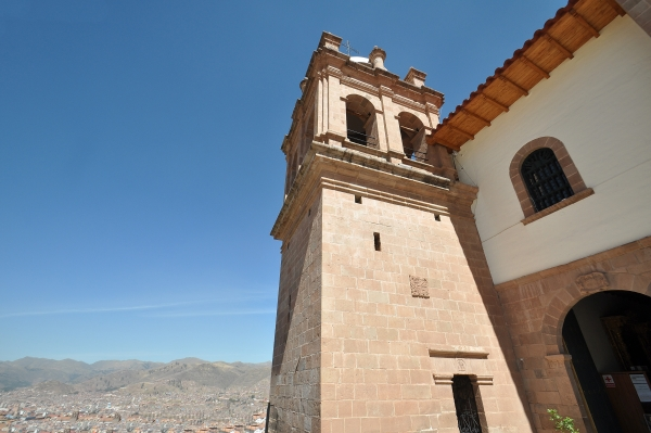 The bell tower at San Cristobal church in Cusco, Peru