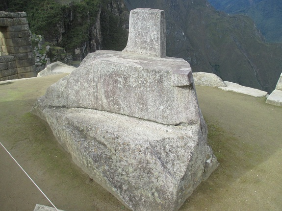 Intihuatana Stone, Note the tab pointing to magnetic north
