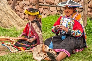 Local Andean Women Weaving