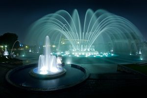 Lima's water fountain park at night