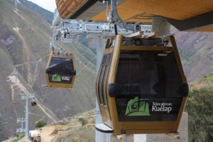 Kuelap's cable cars reaching the top of the mountain