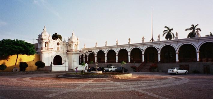 The courtyard of Casa Hacienda, San Jose at dusk
