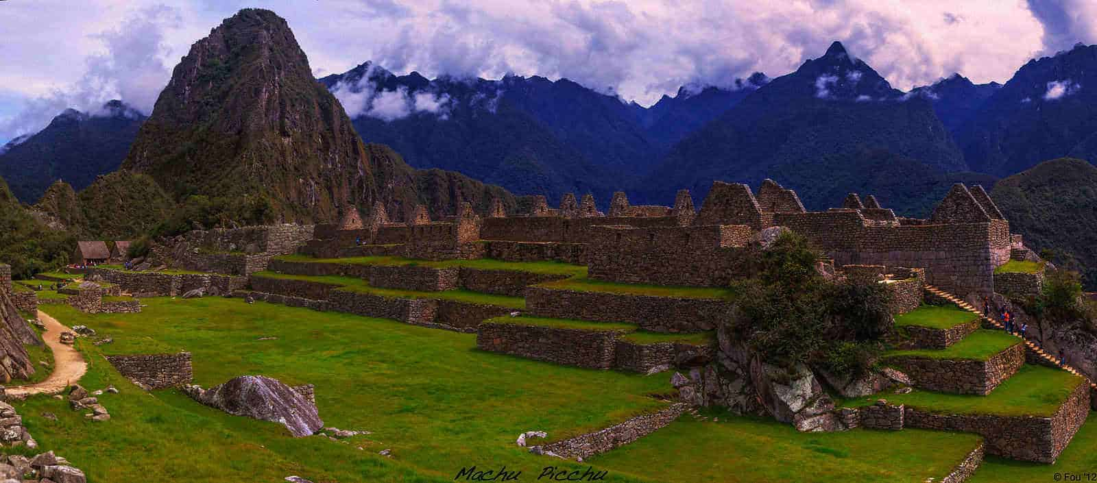 The skyline of Machu Picchu at dusk