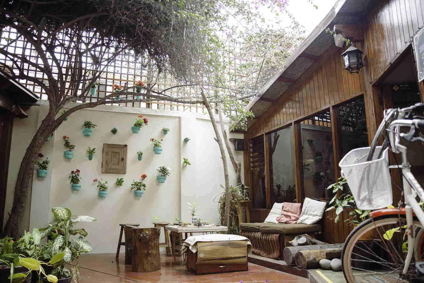D'osma flower pot decorated patio